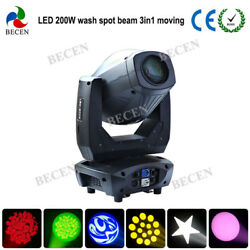 2pcs 200W Led Moving Head Light Spot Beam Wash 3in1 Ligh for stage party wedding