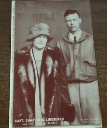 Charles A Lindbergh With His Mother Blank Back Arcade Card Antique Pc