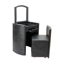 Black Faux Leather Handmade Home Dresser With Caster Stool