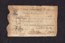 8 Andpound50- City Of Liverpool 1794 - Made Out To George Sterling
