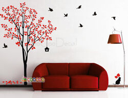 Wall Decor Decal Sticker Removable tree branche birds large 2 colors DC0223 84quot;H