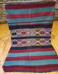 Antique 1930-1940s Wool Pile 3and0395andtimes5and0395 Embroidered Panels Camel Bag Rug