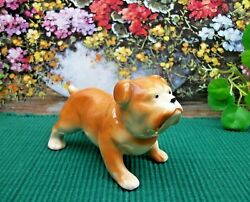 Vintage  BULLDOG  Puppy Dog Ceramic Porcelain Figurine Figure  OCCUPIED JAPAN