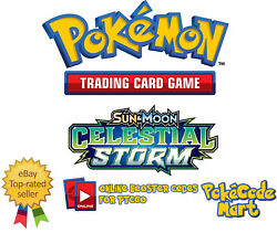 Pokemon Sun And Moon Celestial Storm Online Booster Code Cards For Tcgo Sm7 Codes