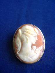 Vintage Handcarved 800 Silver Lady Head Cameo Pin Or Pendant