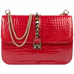 STUNNING VALENTINO ROCK STUD LOCK CROCODILE CROSS-BODY BAG IN RED