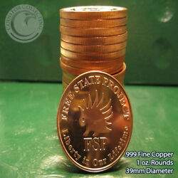Free State Project Aocs 1 Oz .999 Copper 20 Beautiful Rounds 1 Roll In Tube