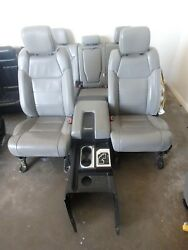 14-18 TOYOTA TUNDRA FRONT REAR SEAT CONSOLE GREY LEATHER POWER HEAT CREW CAB