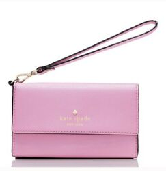 NWT Kate Spade Pink Leather iphone 66s78 Wristlet Phone Case