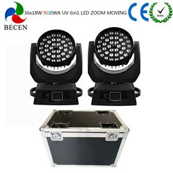 36x18W 6in1 LED Moving Head Light Zoom Led Moving DJ Stage Light 2pcs +fly case