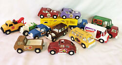 Huge Lot Of 1969-1970 Vintage Metal And Plastic 12 Tooties Toy Trucks And Cars