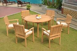 7pc Grade-a Teak Dining Set 52 Round Table 6 Leveb Stacking Arm Chair Outdoor