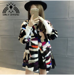 New genuine real mink fur coat women's long fahsion multi-color overcoat jacket