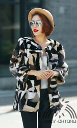 100% genuine real mink fur coat women's long fahsion colorful  overcoat jacket
