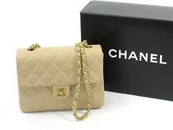 Auth CHANEL Mini Matelasse Crossbody Shoulder Bag Beige LeatherGoldtone - 95022
