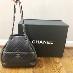 Chanel 2016 Navy Blue Quilted Lambskin Leather Drawstring Bucket Bag $3600