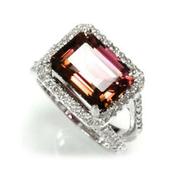 6.6 Cttw Natural Pink Tourmaline And Diamond 14k White Gold Halo Cocktail Ring