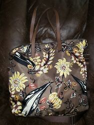 PRADA TESSUTO STAMPAT tote bag nylon leather brown yellow 2WAY Floral crossbody