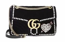 NWT AUTHENTIC GUCCI GG Marmont Crystal Heart Appliqué Velvet Bag Black SOLD OUT