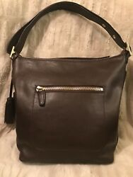 $348 Coach Mahogany Brown Leather Legacy Duffle Bucket Shoulder Bag w Dust Bag