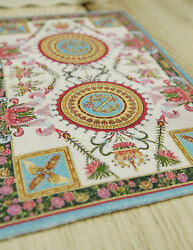 112 Dollhouse Stunning French Medallion Floral Ivory Blue Miniature Rug