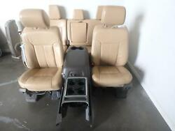 11-16 FORD F250 F350 FRONT REAR SEAT CONSOLE TAN LEATHER LARIAT HEAT MEMORY