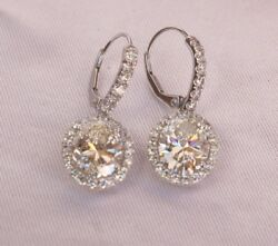 MAGNIFICENT PLATINUM 3.01 CT DIAMOND HVS2 PAIR OF EARRINGS WITH GIA SWISS MADE