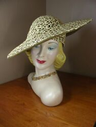 Vintage 60s Jack McConnell Hat Olive Green Felt Gold Rhinestones w Opt Earrings