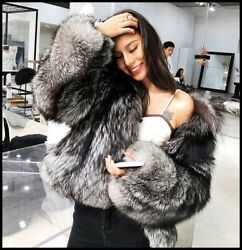 Luxury Womens Whole Real Silver Fox Fur Coat Winter Warm Furry Jacket Outwear G8