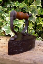 Antique Kenrick Charcoal Clothing Iron Wooden Handle Decorative Cover Collector