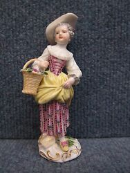 18th Century Meissen Porcelain Statue Girl With Basket Of Flowers Top Condition