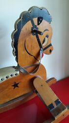 1950s Wood And Leather Painted Rocking Horse Hobby Horse Toy