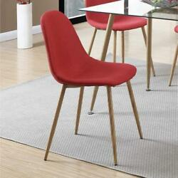 Poundex Metal Frame Dining Chair With Petal-like Seats Red And Brown Set Of 4