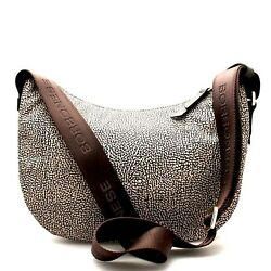 BORBONESE Small Shoulder bag Hobo Nylon CLASSIC BRO Continuos Collection