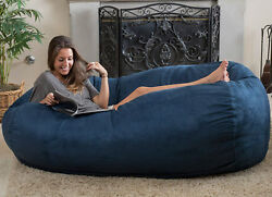 Large Bean Bag Chair Futon Adult Lounge College Room 6 ft Microsuede Blue Dorm