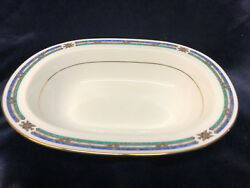 Noritake New Lineage Shelton 10 1/2 Oval Vegetable Bowl Green And Blue Bands