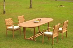 5pc Grade-a Teak Dining Set 94 Mas Oval Table Leveb Stacking Arm Chair Outdoor