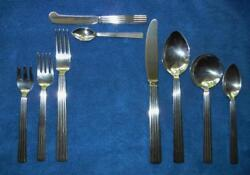 GEORG JENSEN 108 pieces STERLING SILVER FLATWARE 925 solid EUC DENMARK