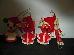 Vintage Pipe Cleaner Foam Christmas Ornaments Frocked and Felt