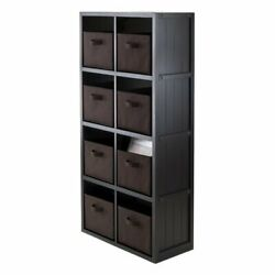 Winsome Timothy 9pc 4x2 Wainscoting Shelf With 8 Baskets In Black