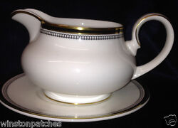 Royal Doulton Pavanne Gravy Boat And Under Plate 20 Oz Gold Black Lines Circles