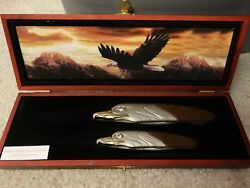 Collector Eagle Pocket Knife Set with Wooden Box