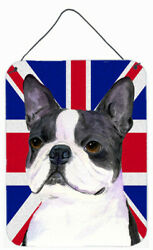 'Boston Terrier with English Union Jack British Flag' Graphic Art Plaque