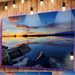 Design Art 'Beautiful Calm Water and Sunset' Photographic Print on Metal