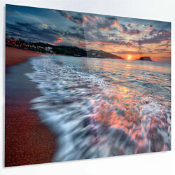 Design Art 'Calm Seashore with Rushing Waters' Graphic Art Print on Metal