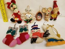 9 - VINTAGE HANDMADE -  OLD FELT and PAPER MACHE CHRISTMAS ORNAMENTS