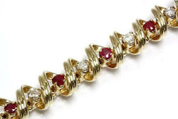 3.4 Ctw Natural Ruby And Diamond 14k Yellow Gold Floating Ribbon Bracelet 6 To 8in