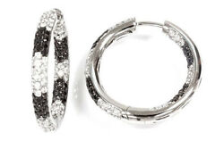 2 Ctw Natural Black And White Diamond 14k White Gold Inside Out Pave Hoop Earrings