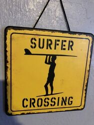 Surfer Crossing Hanging Sign Tiki Bar Tropical Decoration New Home Interiors