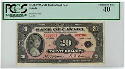 1935 Bank Of Canada 20 Bank Note English Small Seal Osborne Towers Pcgs Ef-40